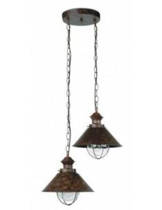 Lámpara colgante exterior FARO NAUTICA 71111 nautica marron oxido 2l e27, Iluminación Exterior