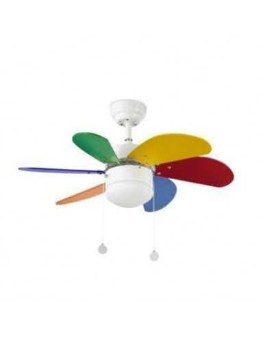 Ventilador de techo infantil FARO PALAO 33179 ø76cm multicolor 1xE14, Ventiladores infantiles