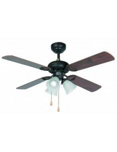 Ventilador de techo rústico FARO LISBOA 33102 ø106cm 4palas marron 3xE27, Ventiladores rústicos