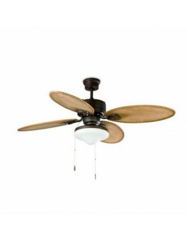 Ventilador de techo rústico FARO LOMBOK 33019 132 cms marron oscuro 2xE27, Ventiladores rústicos