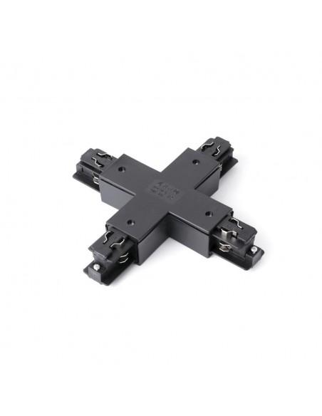 Conector intermedio 01991002 FARO en x negro, Carriles y accesorios proyectores