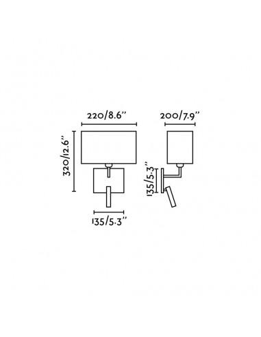 Applique moderne FARO MOMA 68506 moma-2 con lecteur led blanc 1l e27
